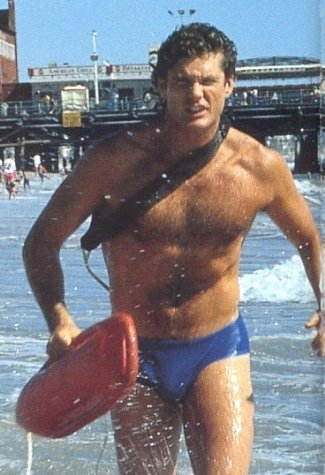 David Hasselhoff wearing blue speedo