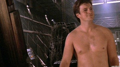Nathan Fillion no shirt - smooth chest