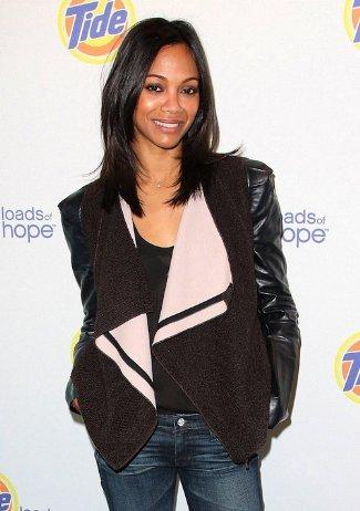 Zoe Saldana Wearing Roland Mouret Leather Sleeve Jacket