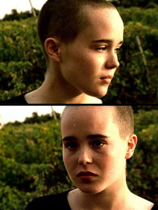 famous bald female celebrities - ellen page in mouth to mouth