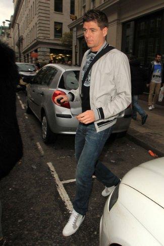 celebrities wearing bomber jacket - Steven Gerrard in Dior Homme Bomber Jacket