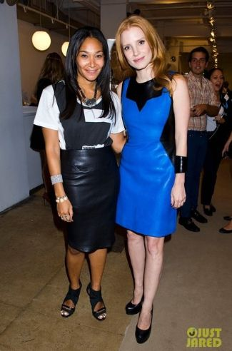 celebrities wearing jason wu leather dress - jessica chastain blue leather 2013