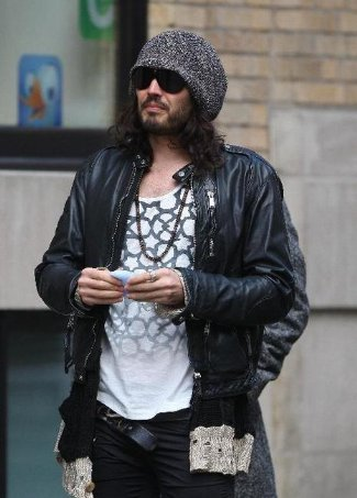 celebrity bomber jacket - russel brand in dsquared leather