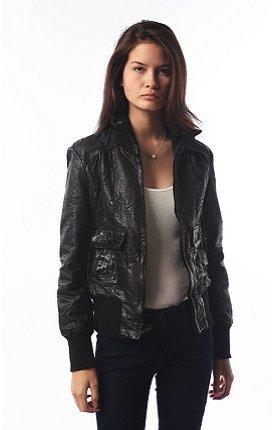 celebrity female bomber leather jacket by levis