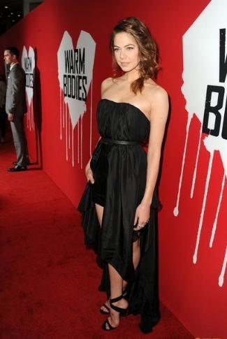 celebrity leather dress 2013 - Analeigh Tipton and Barbara Bui Spring 2013 Strapless Leather Dress