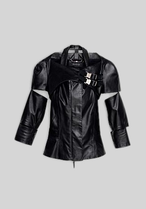 gucci leather jacket on zoe saldana