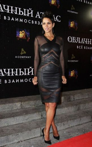 halle berry 2013 leather dress by malandrino