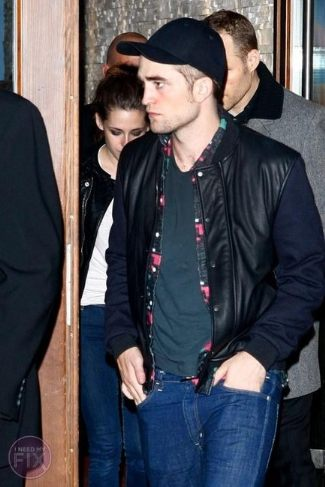 lanvin leather varsity jacket for men - robert pattinson