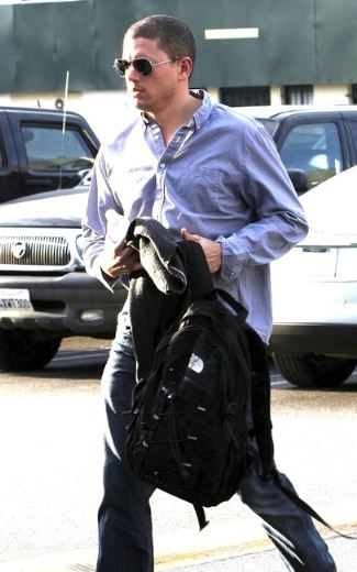 men with north face bags - wentworth miller in nf jester backpack