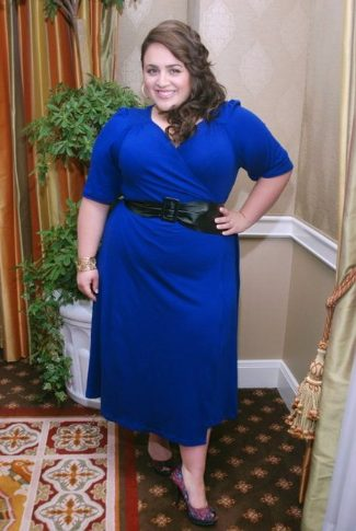 nikki-blonsky-plus-size-igigi-yoke-wrap-dress