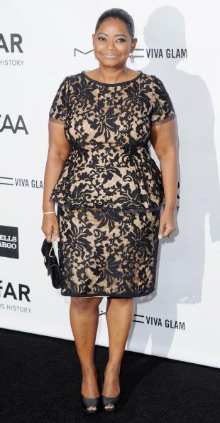 octavia spencer red carpet look - Embroidered Lace Peplum Cocktail Dress by Tadashi Shoji