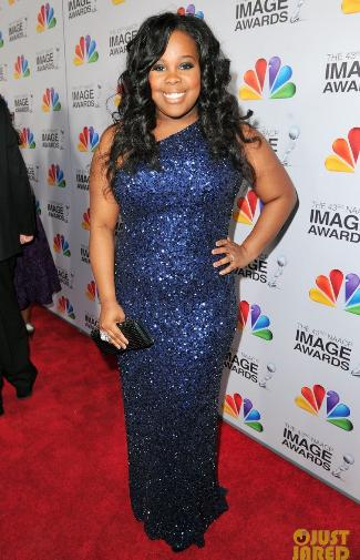 plus size evening dress - amber riley in theia gown - 2012 naacp image awards