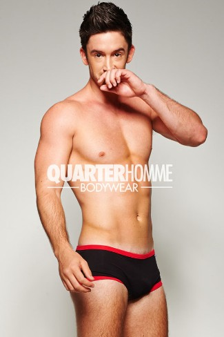 quarter homme underwear for men 2013 - Andrew Turner poses in the Lined Hipster collection - pic by ian wong