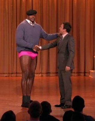 NBA Basketball Players in Underwear shaquille o neal underwear - pink briefs on jimmy fallon