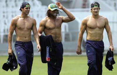 shirtless cricketers - Mitchell Johnson Andrew Symonds and Shane Watson October 2006