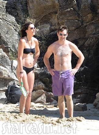 shirtless racecar drivers - jeff gordon topless with model wife Ingrid Vandebosch