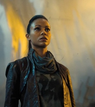 zoe saldana uhura leather jacket star trek