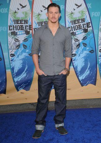 channing tatum wearing jeans - Prada Popeline Stretch Cuffed Jeans