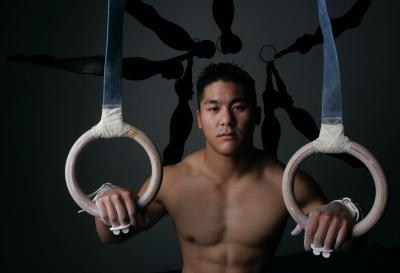 shirtless chinese american gymnast - kevin tan