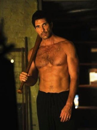 Dylan McDermott 51 years old shirtless hunk with washboard abs