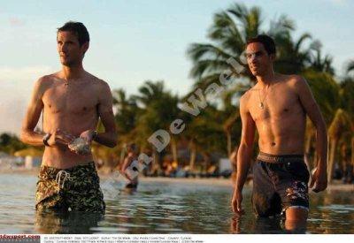 Frank Schleck and Alberto Contador shirtless cyclists
