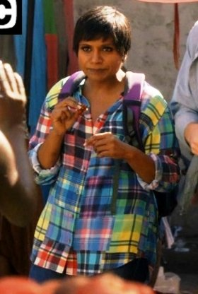 Mindy Kaling wore an Equipment Signature Colorwheel Shirt on The Mindy Project