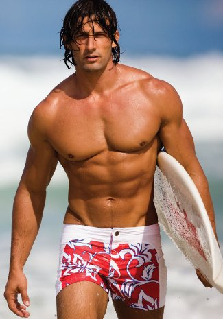 Tim Robards - sexy beach shorts tight