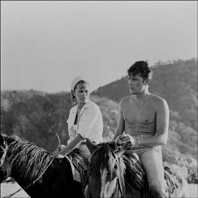 actors riding horses - alain delon