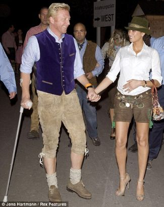 boris becker wearing lederhosen