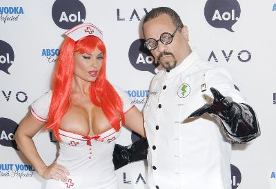 sexy nurse halloween costume - coco austin as a sexy nurse with ice t as mad scientist