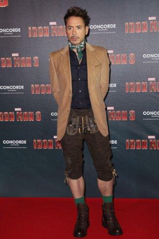 celebrity lederhosen - robert downey jr - ironman 3 photocall in munich