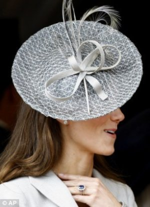 duchess catherine hat fashion - Rachel Trevor-Morgan Gray Feathered Bow Hat