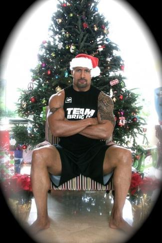 dwayne johnson as muscle santa