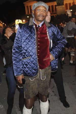 famous men wearing lederhosen - samuel l jackson
