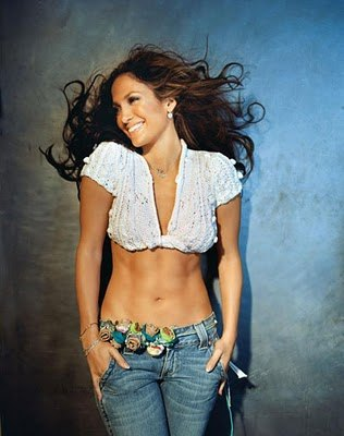 female celebrities with washboard abs - jennifer lopez