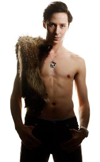 johnny weir - shirtless figure skater - peekabo underwear