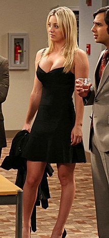 kaley cuoco - penny guess black celeste bandage dress