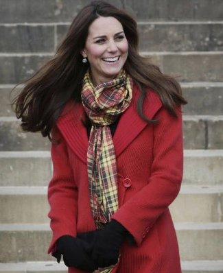 kate middleton coats for winter- Giorgio Armani Red One Button Coat