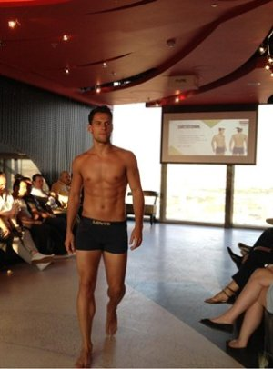levis male runway model in boxers - michale jukes - credit pha agency uk