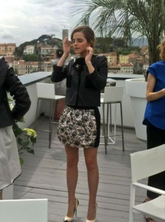 louis vuitton leather jackets for women - emma watson in prefall 2013 leather