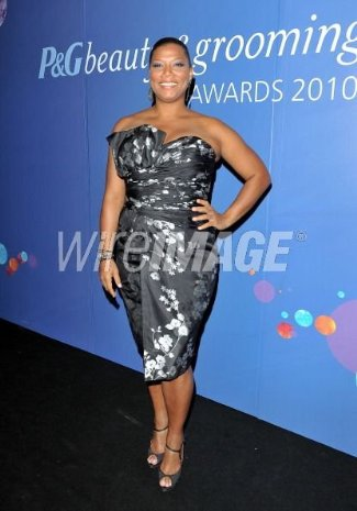 plus size dress for girls - queen latifah in Gustavo Cadile Printed Silk Taffeta Strapless Cocktail Dress