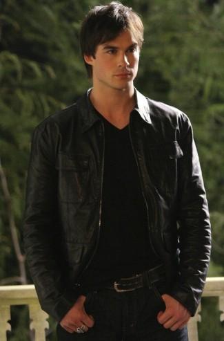 vampire diaries leather jacket - damon salvatore - by john varvatos