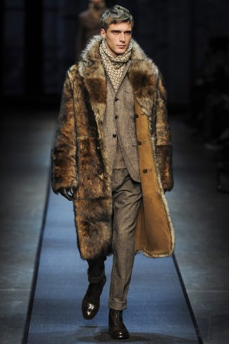 winter fur coats for men - canali menswear fw 2013-14