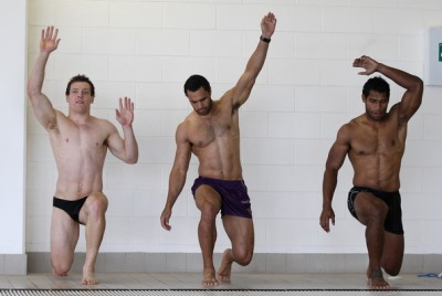 melbourne storm rugby players in speedos sisa waqa