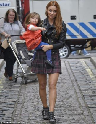 female celebrities wearing kilt skirt - Una Healy and Lipsy Check Mini Kilt