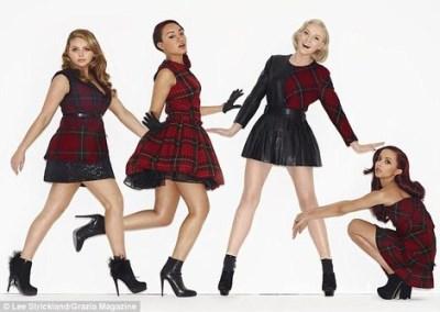 female celebrities wearing kilt - Little Mix and McQ Alexander McQueen Tartan Mini Kilt
