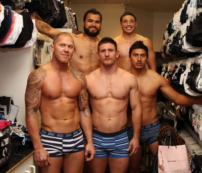 nz warriors in underwear - Aaron Heremia Kevin Locke Jacob Lillyman and Elijah Taylor with boxer shane cameron - bendon underwear fashion show 2010