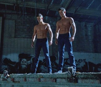 shirtless twins - Charlie and Max Carver