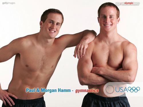 shirtless twins paul and morgan hamm gymnasts