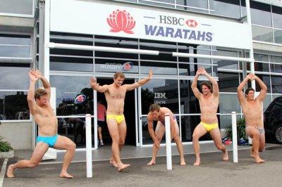 waratahs in speedos - strut the steet dec11 - Waratahs - ltor - Pat McCutcheon Dean Mumm Nathan Trist and Jeremy Tilse